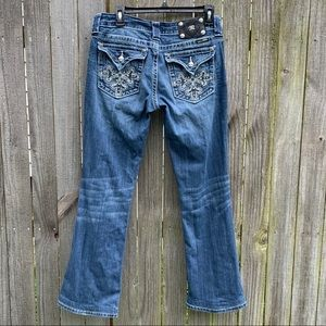 Miss Me W 30 Boot Jeans Bling cross Inseam 29 1/2